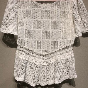 Pinky Tops - Sheer white blouse with crocheted detailing!